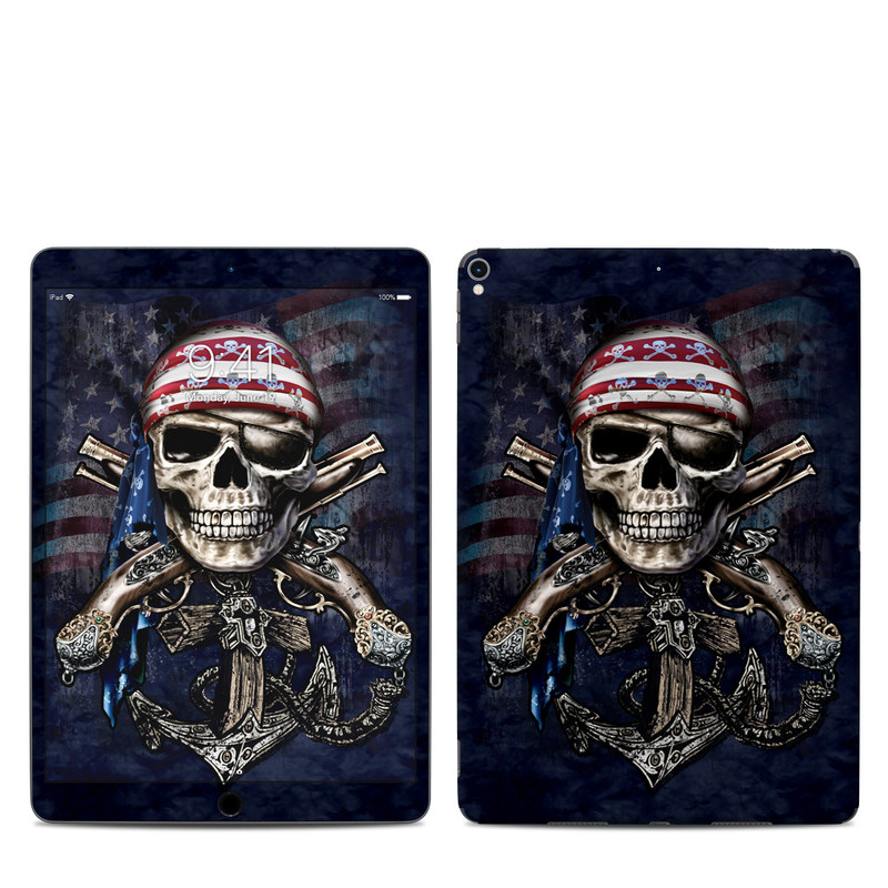 iPad Pro 2nd Gen 10.5-inch Skin design of Skull, Bone, Skeleton, Illustration, Outerwear, T-shirt, Flag, Art with black, gray, red colors