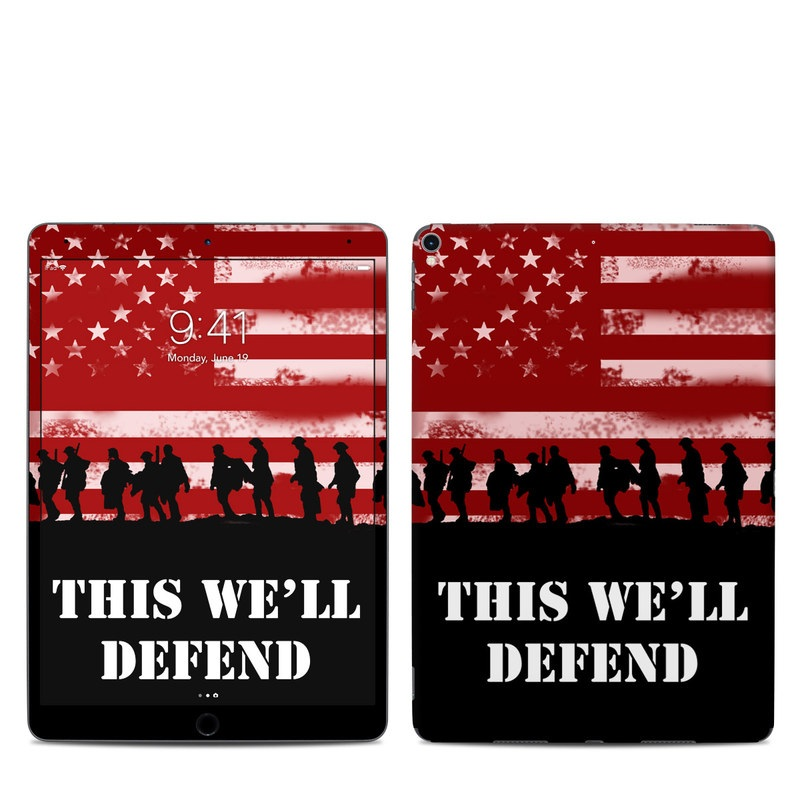 iPad Pro 2nd Gen 10.5-inch Skin design of Red, Flag, Font, Veterans day, Crowd, Illustration, Silhouette, Red flag with red, black, gray, pink colors