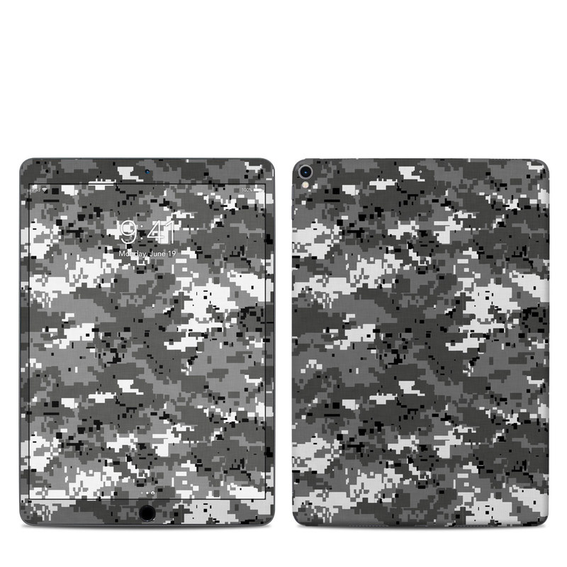 iPad Pro 2nd Gen 10.5-inch Skin design of Military camouflage, Pattern, Camouflage, Design, Uniform, Metal, Black-and-white with black, gray colors