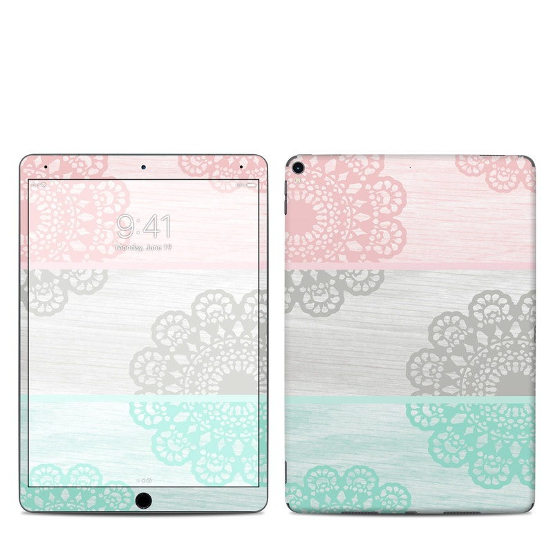 iPad Pro 10.5-inch Skin design of Aqua, Pattern, Pink, Line, Design, Textile, Visual arts, Wallpaper, Floral design, Motif with white, black, pink, blue colors