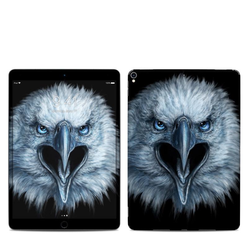 iPad Pro 2nd Gen 10.5-inch Skin design of Bird, Vertebrate, Bird of prey, Beak, Eagle, Wildlife, Organ, Close-up, Eye, Accipitriformes with white, gray, black, blue colors