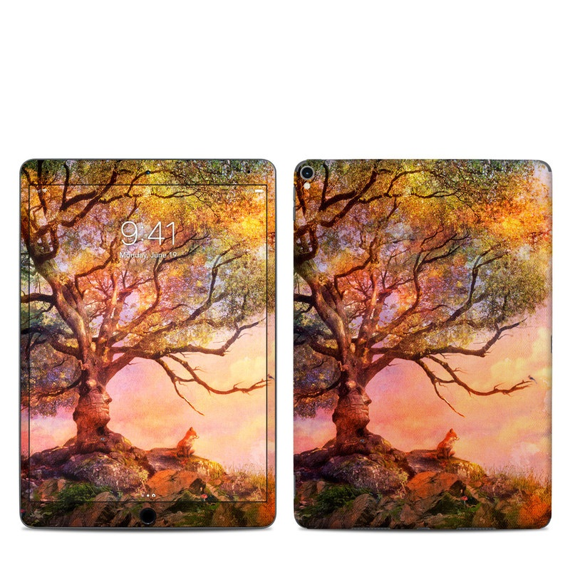 iPad Pro 2nd Gen 10.5-inch Skin design of Nature, Tree, Sky, Natural landscape, Branch, Leaf, Woody plant, Trunk, Landscape, Plant with pink, red, black, green, gray, orange colors