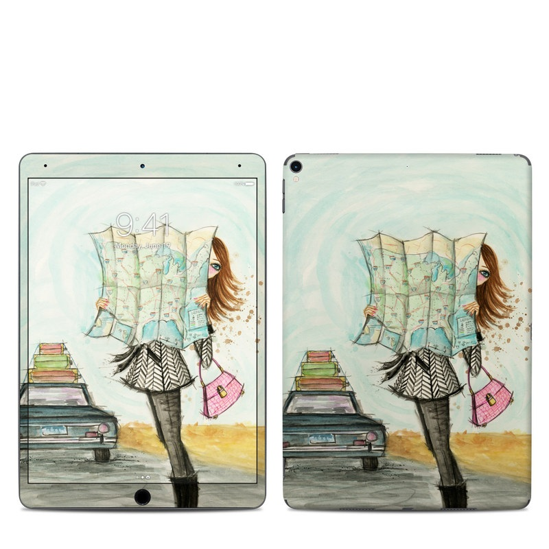 iPad Pro 2nd Gen 10.5-inch Skin design of Fashion illustration, Sketch, Watercolor paint, Illustration, Drawing, Art, Footwear, Vehicle, Painting, Fashion design with blue, black, gray, white, pink, brown, green, orange, yellow colors