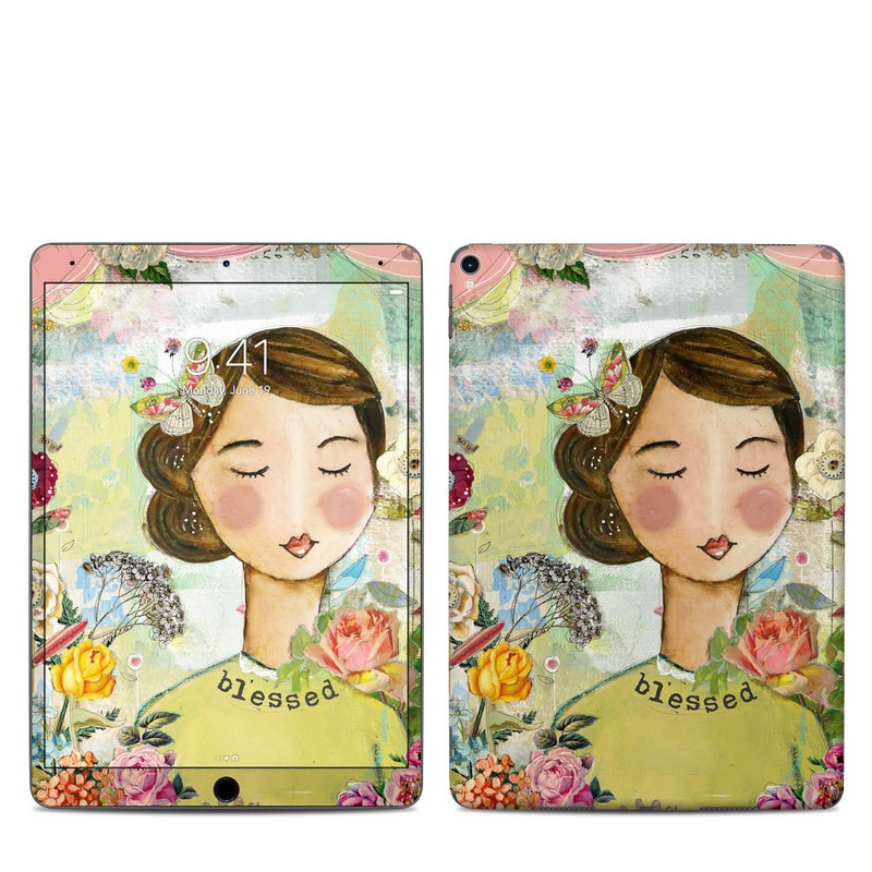 iPad Pro 10.5-inch Skin design of Illustration, Cheek, Art, Watercolor paint, Retro style, Painting, Plant, Flower, Fashion illustration, Fictional character with pink, green, yellow, white, red, blue colors