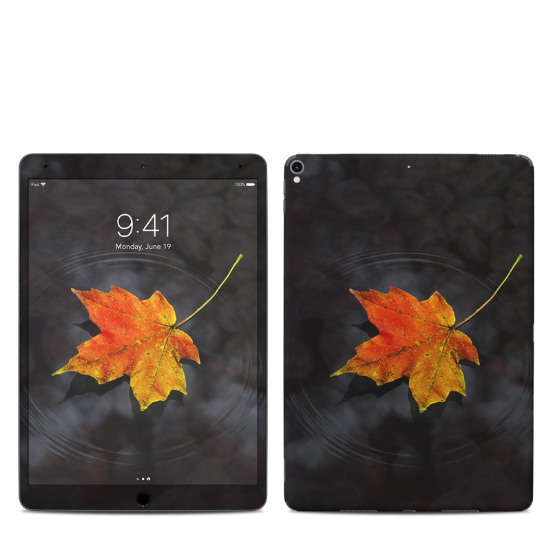 iPad Pro 10.5-inch Skin design of Leaf, Maple leaf, Tree, Black maple, Sky, Yellow, Deciduous, Orange, Autumn, Red with black, red, green colors