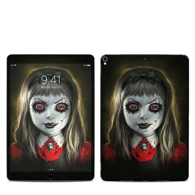 iPad Pro 2nd Gen 10.5-inch Skin design of Fiction, Illustration, Fictional character, Ghost, Darkness, Vampire, Goth subculture, Zombie, Art, Skull with white, red, black, yellow colors