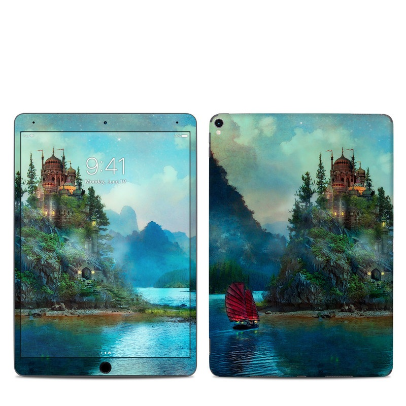 iPad Pro 2nd Gen 10.5-inch Skin design of Nature, Natural landscape, Sky, Painting, Landscape, Illustration, Watercolor paint, Art, Calm, Water castle with black, gray, blue, green colors