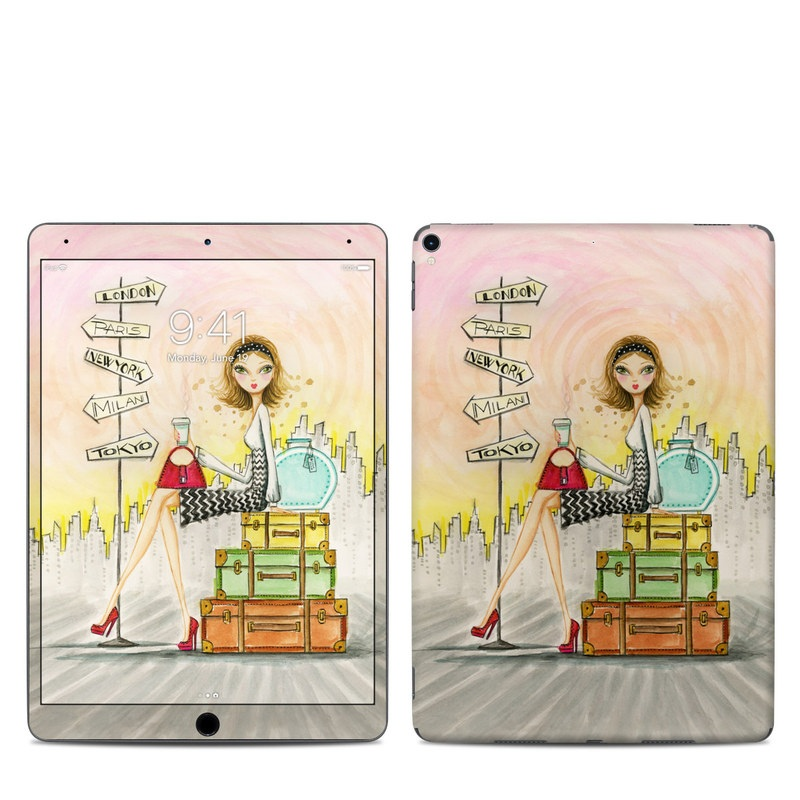 iPad Pro 10.5-inch Skin design of Cartoon, Illustration, Art, Watercolor paint with gray, pink, green, red, black colors