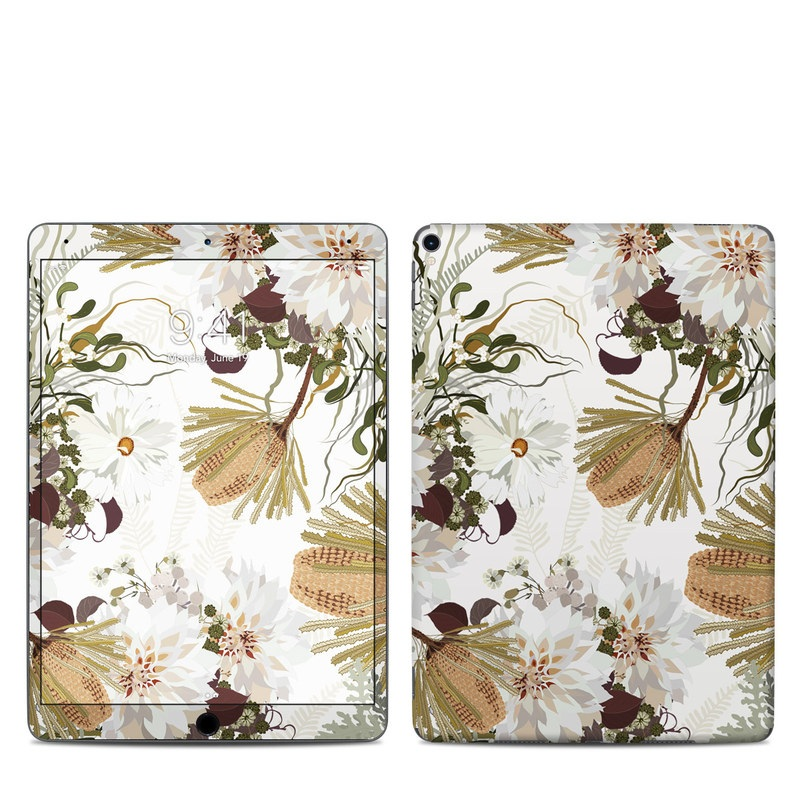 iPad Pro 10.5-inch Skin design of Flower, Botany, Plant, Floral design, Wildflower, Pattern, Wallpaper, Textile, Petal, Butterfly with white, brown, green, gray colors
