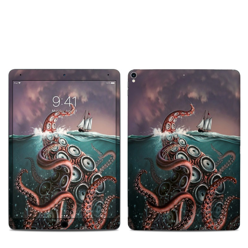 iPad Pro 2nd Gen 10.5-inch Skin design of Octopus, Water, Illustration, Wind wave, Sky, Graphic design, Organism, Cephalopod, Cg artwork, giant pacific octopus with blue, gray, white, brown, red colors