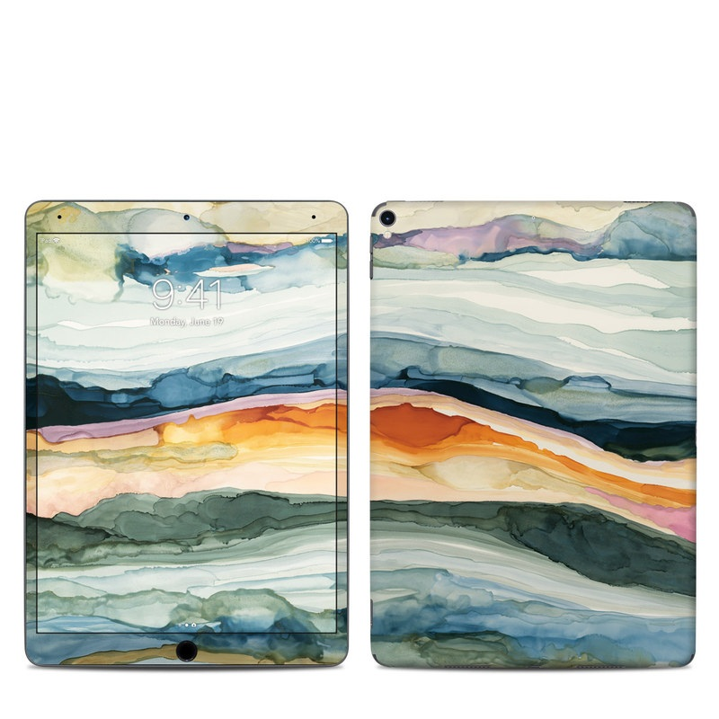 iPad Pro 10.5-inch Skin design of Watercolor paint, Painting, Sky, Wave, Geology, Landscape, Pattern, Acrylic paint, Cloud, Paint with blue, purple, orange, yellow, red, green, brown colors