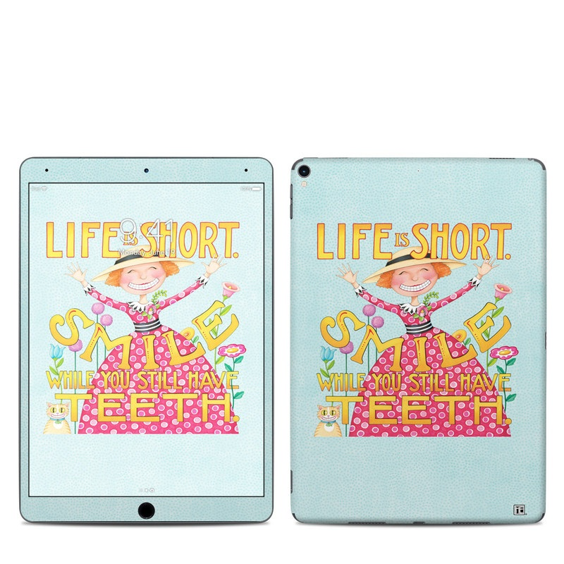 iPad Pro 2nd Gen 10.5-inch Skin design of Text, Poster, Font, Illustration, Happy, Art with blue, yellow, pink, green, orange, red, white, black colors
