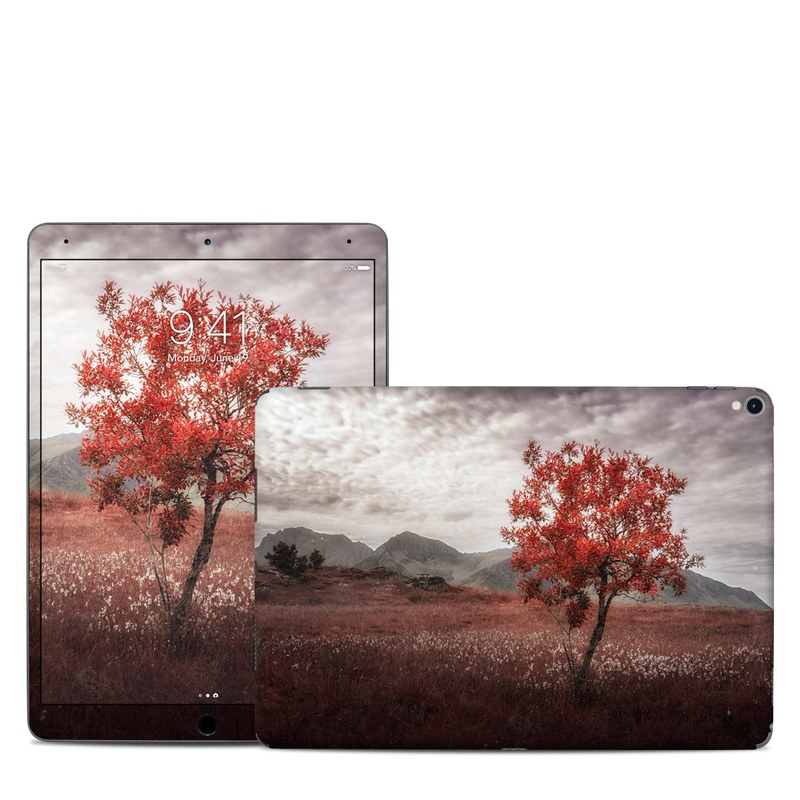 iPad Pro 2nd Gen 10.5-inch Skin design of Natural landscape, Nature, Tree, Sky, Red, Natural environment, Atmospheric phenomenon, Leaf, Cloud, Woody plant with black, gray, red colors