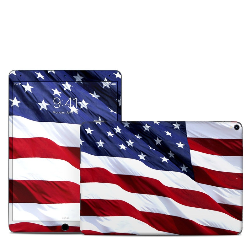 iPad Pro 2nd Gen 10.5-inch Skin design of Flag, Flag of the united states, Flag Day (USA), Veterans day, Memorial day, Holiday, Independence day, Event with red, blue, white colors