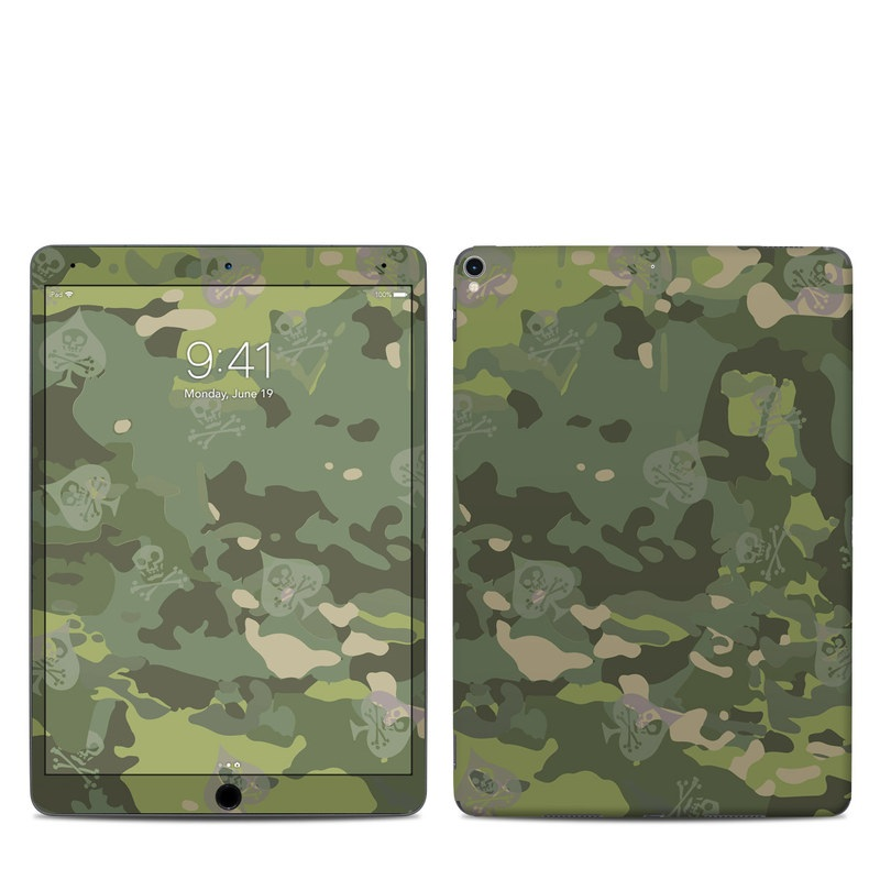 iPad Pro 2nd Gen 10.5-inch Skin design of Military camouflage, Pattern, Camouflage, Uniform, Clothing, Green, Design, Leaf, Plant, Illustration with green, brown colors