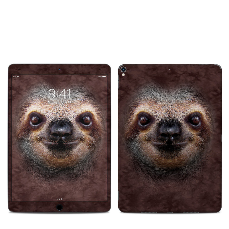 iPad Pro 10.5-inch Skin design of Three-toed sloth, Sloth, Snout, Head, Close-up, Nose, Two-toed sloth, Terrestrial animal, Eye, Whiskers with black, gray, red, green colors
