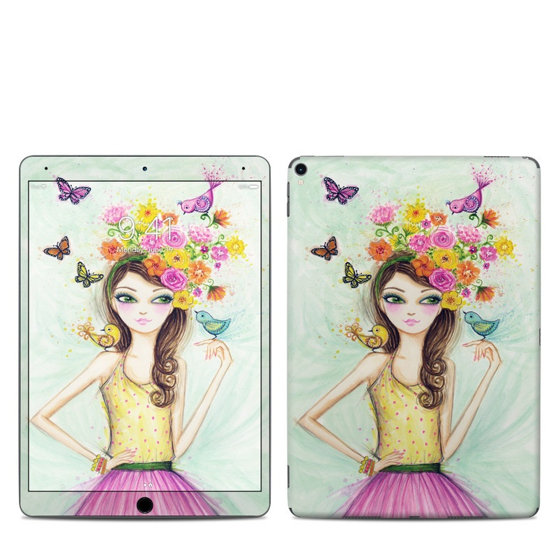 iPad Pro 10.5-inch Skin design of Pink, Illustration, Fashion illustration, Watercolor paint, Fictional character, Dress, Hair accessory, Wildflower, Costume, Plant with blue, pink, yellow, orange, purple, brown, green colors