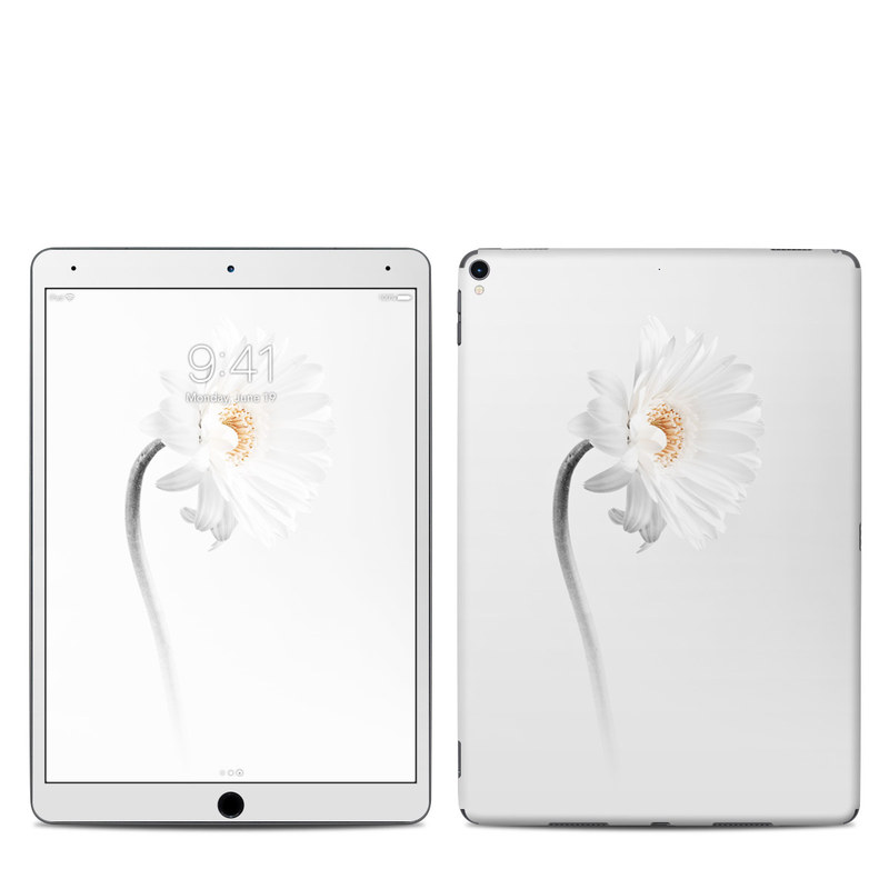 iPad Pro 2nd Gen 10.5-inch Skin design of White, Hair accessory, Headpiece, Gerbera, Petal, Flower, Plant, Still life photography, Headband, Fashion accessory with white, gray colors