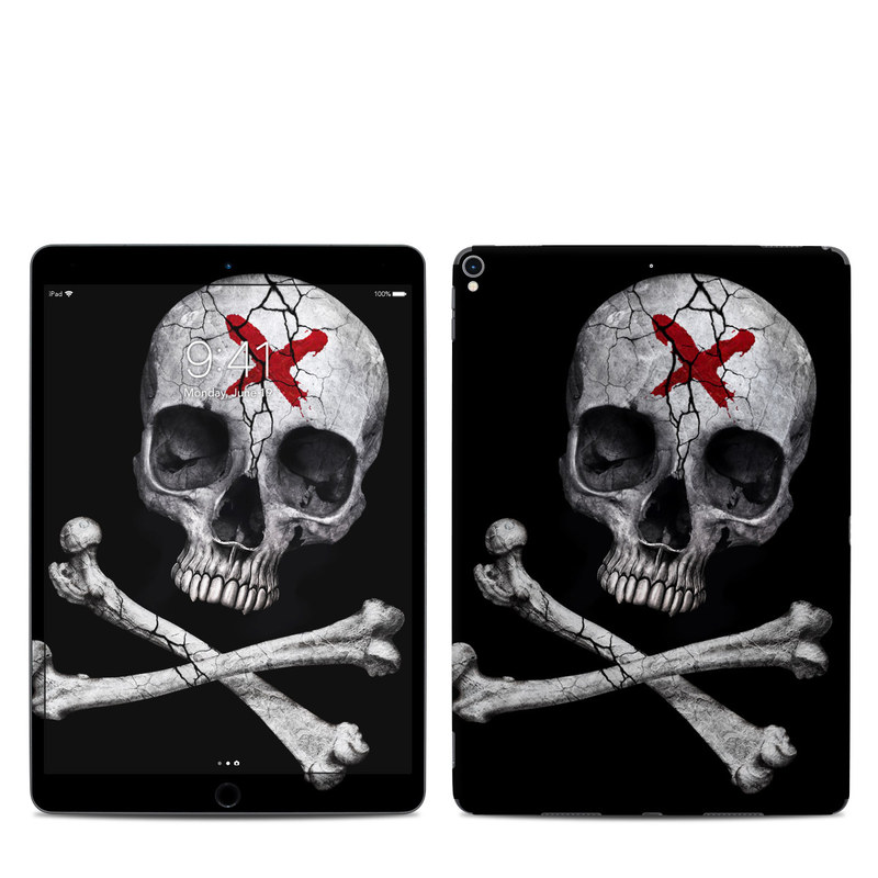 iPad Pro 2nd Gen 10.5-inch Skin design of Bone, Skull, Skeleton, Jaw, Illustration, Animation, Fictional character, Still life photography with black, white, gray colors