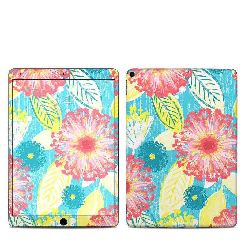 iPad Pro 2nd Gen 10.5-inch Skin design of Pattern, Design, Flower, Floral design, Plant, Textile, Wrapping paper, Wildflower, Visual arts with pink, gray, blue, yellow colors