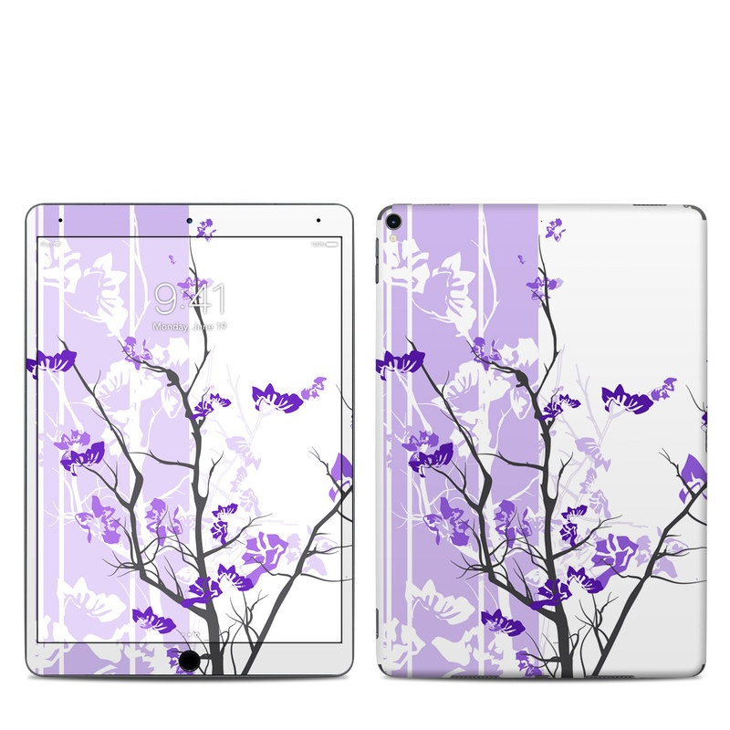 iPad Pro 10.5-inch Skin design of Branch, Purple, Violet, Lilac, Lavender, Plant, Twig, Flower, Tree, Wildflower with white, purple, gray, pink, black colors