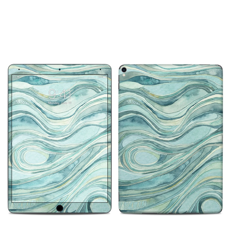 iPad Pro 10.5-inch Skin design of Aqua, Blue, Pattern, Turquoise, Teal, Water, Design, Line, Wave, Textile with gray, blue colors