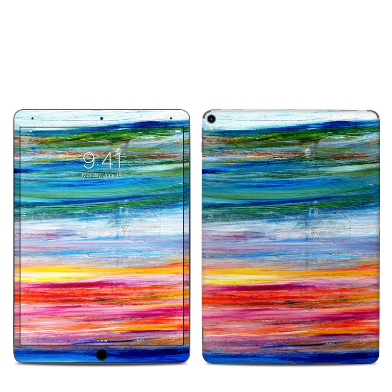 iPad Pro 10.5-inch Skin design of Sky, Painting, Acrylic paint, Modern art, Watercolor paint, Art, Horizon, Paint, Visual arts, Wave with gray, blue, red, black, pink colors