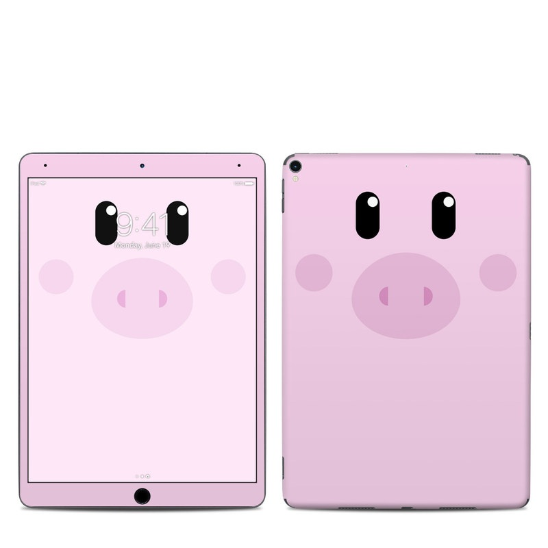 iPad Pro 2nd Gen 10.5-inch Skin design of Pink, Cartoon, Violet, Nose, Purple, Snout, Suidae, Material property, Illustration, Animation with pink, black, white colors