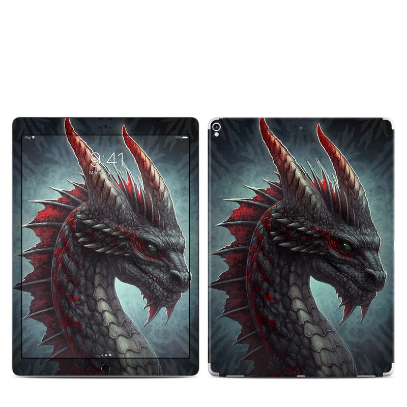 iPad Pro 12.9-inch 2nd Gen Skin design of Dragon, Fictional character, Mythical creature, Demon, Cg artwork, Illustration, Green dragon, Supernatural creature, Cryptid with red, gray, blue colors