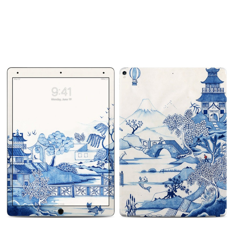 iPad Pro 12.9-inch 2nd Gen Skin design of Blue, Blue and white porcelain, Winter, Christmas eve, Illustration, Snow, World, Art with blue, white colors