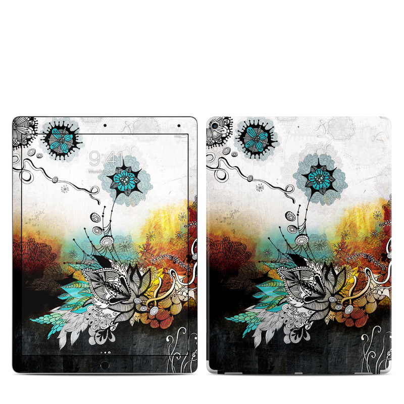 iPad Pro 12.9-inch 2nd Gen Skin design of Graphic design, Illustration, Art, Design, Visual arts, Floral design, Font, Graphics, Modern art, Painting with black, gray, red, green, blue colors