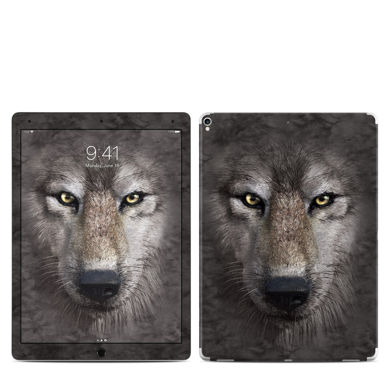 iPad Pro 12.9-inch 2nd Gen Skin design of Vertebrate, Mammal, Wolf, Canidae, Wildlife, Snout, Czechoslovakian wolfdog, Eye, Wolfdog, Canis with black, gray, red, green colors