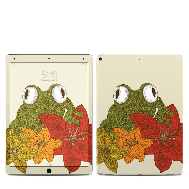 iPad Pro 2nd Gen 12.9-inch Skin design of Frog, Toad, Tree frog, True frog, Amphibian, Illustration, Plant, Drawing, Clip art with green, red, orange, yellow, white, black colors