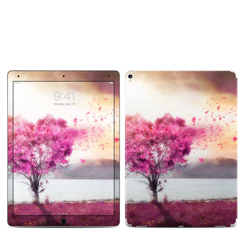 iPad Pro 12.9-inch 2nd Gen Skin design of Sky, Nature, Natural landscape, Pink, Tree, Spring, Purple, Landscape, Cloud, Magenta with pink, yellow, blue, black, gray colors