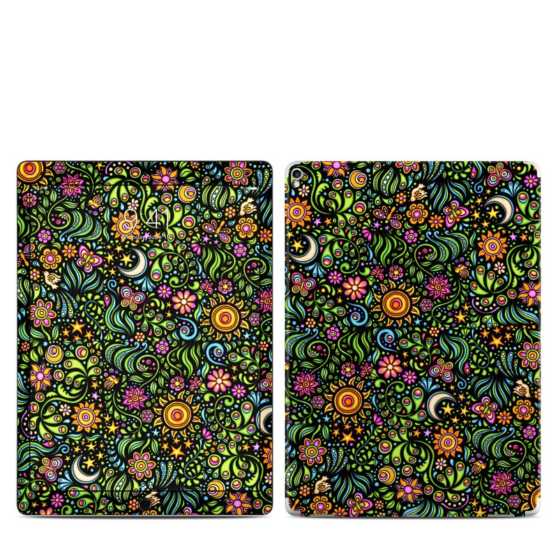 iPad Pro 12.9-inch 2nd Gen Skin design of Pattern, Psychedelic art, Visual arts, Art, Design, Motif, Organism, Circle, Textile, Plant with black, red, green, blue, purple colors