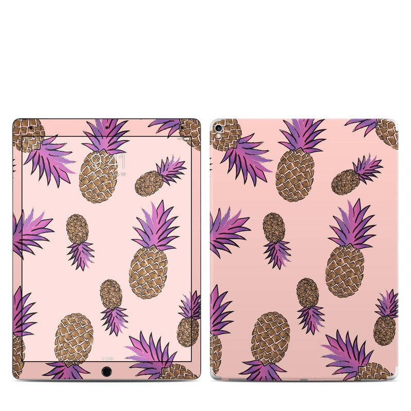 iPad Pro 12.9-inch 2nd Gen Skin design of Plant, Organism, Flower, Pattern, Flowering plant, globe thistle, Pine family with pink, brown, purple colors