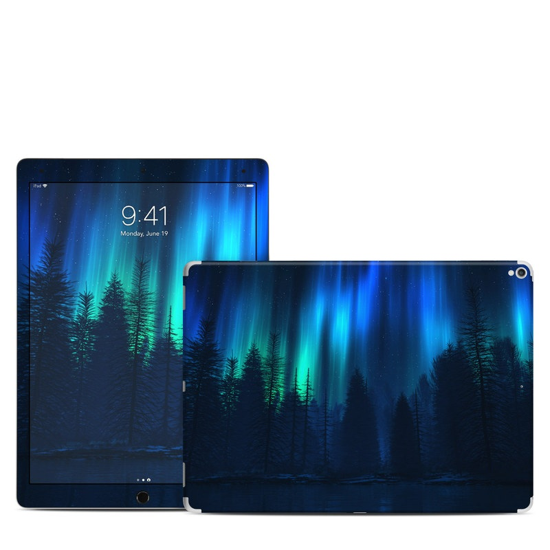 iPad Pro 12.9-inch 2nd Gen Skin design of Blue, Light, Natural environment, Tree, Sky, Forest, Darkness, Aurora, Night, Electric blue with black, blue colors