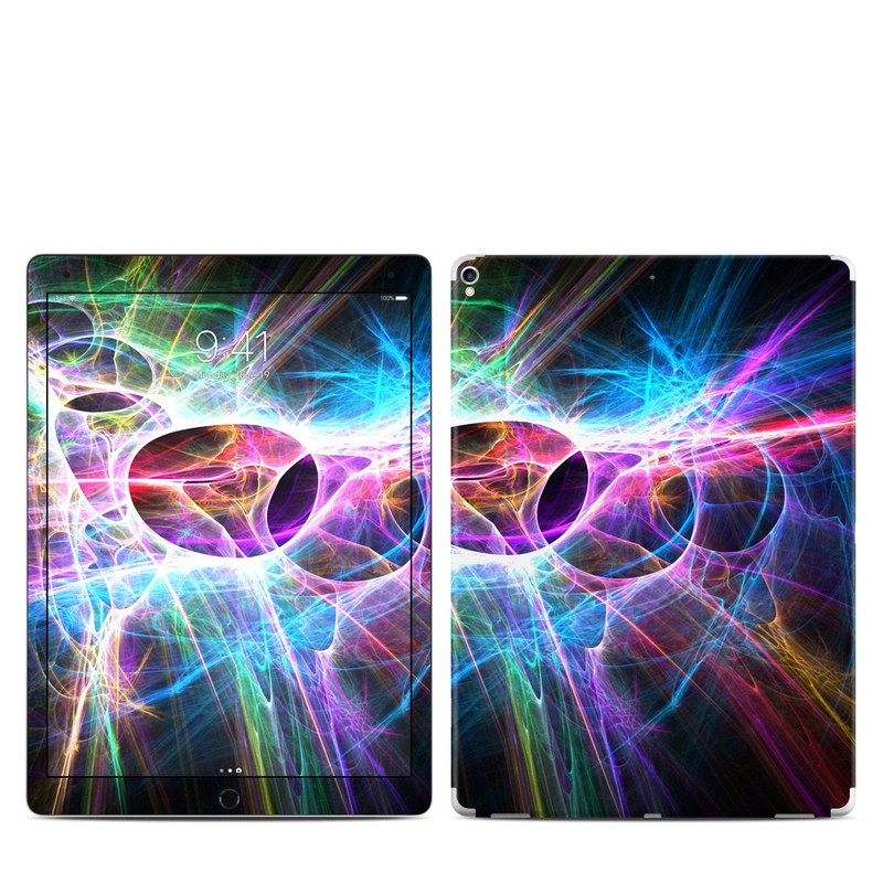 iPad Pro 12.9-inch 2nd Gen Skin design of Fractal art, Light, Pattern, Purple, Graphic design, Design, Colorfulness, Electric blue, Art, Neon with black, gray, blue, purple colors
