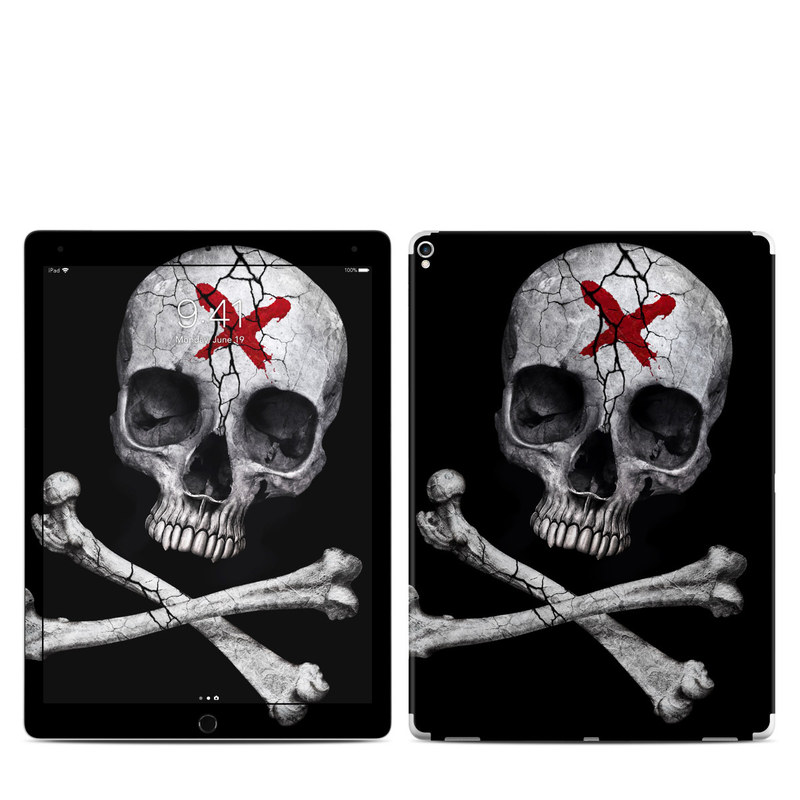 iPad Pro 2nd Gen 12.9-inch Skin design of Bone, Skull, Skeleton, Jaw, Illustration, Animation, Fictional character, Still life photography with black, white, gray colors