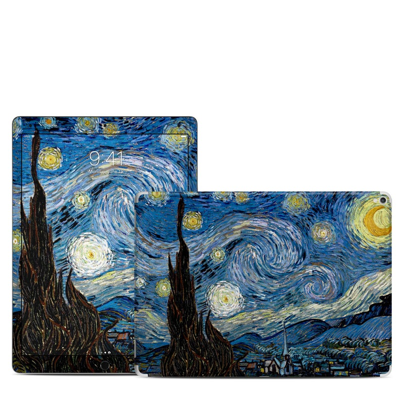 iPad Pro 2nd Gen 12.9-inch Skin design of Painting, Purple, Art, Tree, Illustration, Organism, Watercolor paint, Space, Modern art, Plant with gray, black, blue, green colors