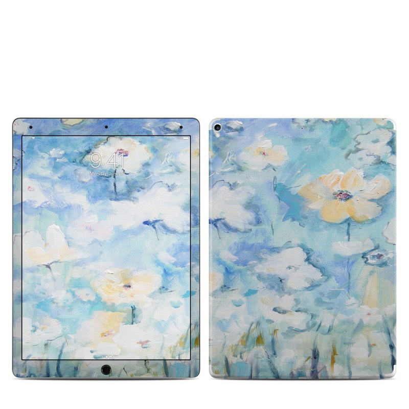 iPad Pro 12.9-inch 2nd Gen Skin design of Blue, Watercolor paint, Painting, Flower, Plant, Art, Acrylic paint, Wildflower, Visual arts, Floral design with gray, blue colors