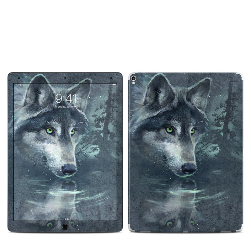 iPad Pro 12.9-inch 2nd Gen Skin design of Wolf, Canidae, Wildlife, Red wolf, Canis, canis lupus tundrarum, Snout, Saarloos wolfdog, Wolfdog, Carnivore with black, gray, blue colors