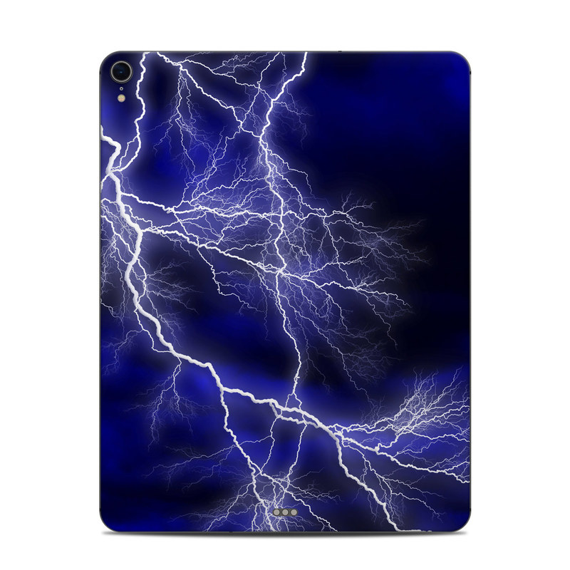 iPad Pro 12.9-inch 3rd Gen Skin design of Thunder, Lightning, Thunderstorm, Sky, Nature, Electric blue, Atmosphere, Daytime, Blue, Atmospheric phenomenon with blue, black, white colors