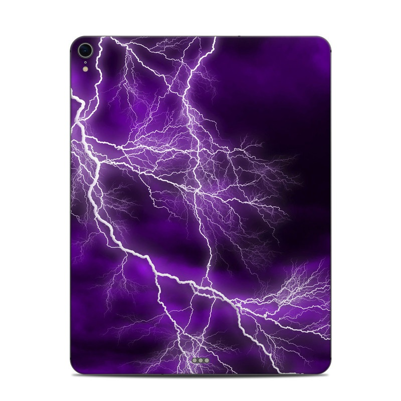 iPad Pro 12.9-inch 3rd Gen Skin design of Thunder, Lightning, Thunderstorm, Sky, Nature, Purple, Violet, Atmosphere, Storm, Electric blue with purple, black, white colors