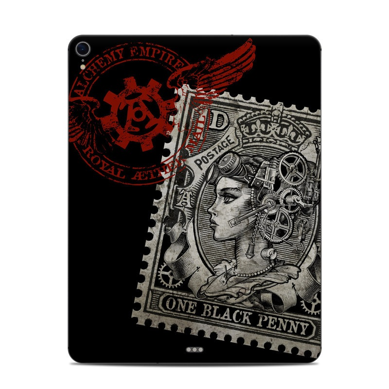 iPad Pro 12.9-inch 3rd Gen Skin design of Font, Postage stamp, Illustration, Drawing, Art with black, gray, red colors
