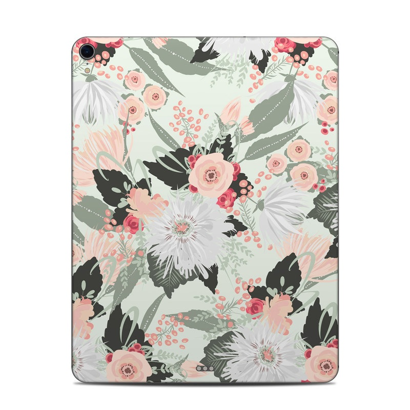 iPad Pro 12.9-inch 3rd Gen Skin design of Pattern, Pink, Floral design, Design, Textile, Wrapping paper, Plant, Peach, Flower with green, red, white, pink colors