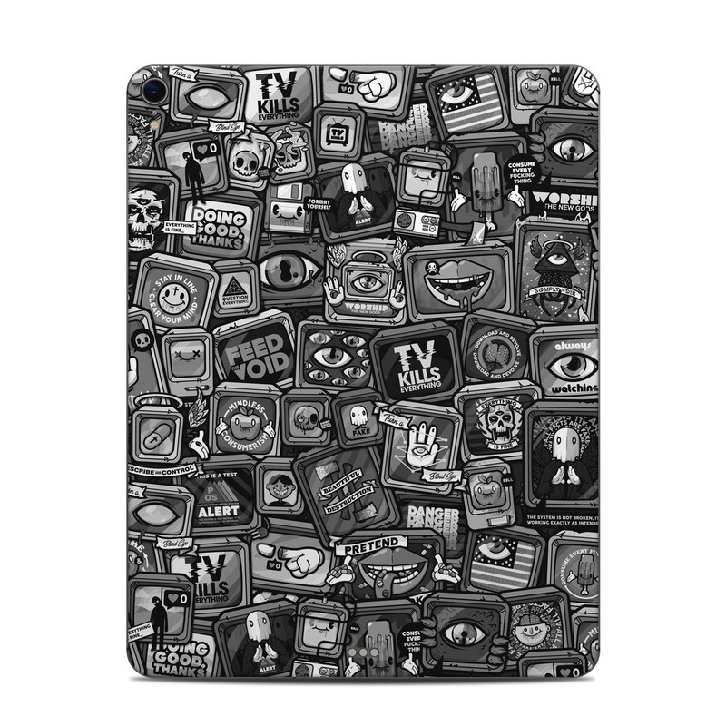 iPad Pro 12.9-inch 3rd Gen Skin design of Font, Text, Pattern, Black-and-white, Design, Photography, Stock photography, Illustration, Monochrome, Drawing with black, white, gray colors