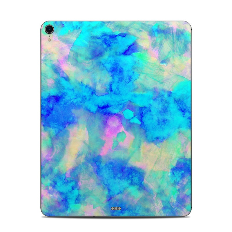 iPad Pro 3rd Gen 12.9-inch Skin design of Blue, Turquoise, Aqua, Pattern, Dye, Design, Sky, Electric blue, Art, Watercolor paint with blue, purple colors