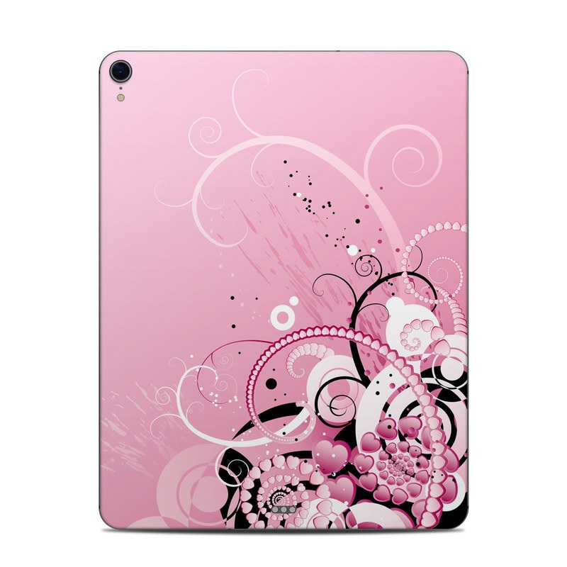 iPad Pro 12.9-inch 3rd Gen Skin design of Pink, Floral design, Graphic design, Text, Design, Flower Arranging, Pattern, Illustration, Flower, Floristry with pink, gray, black, white, purple, red colors