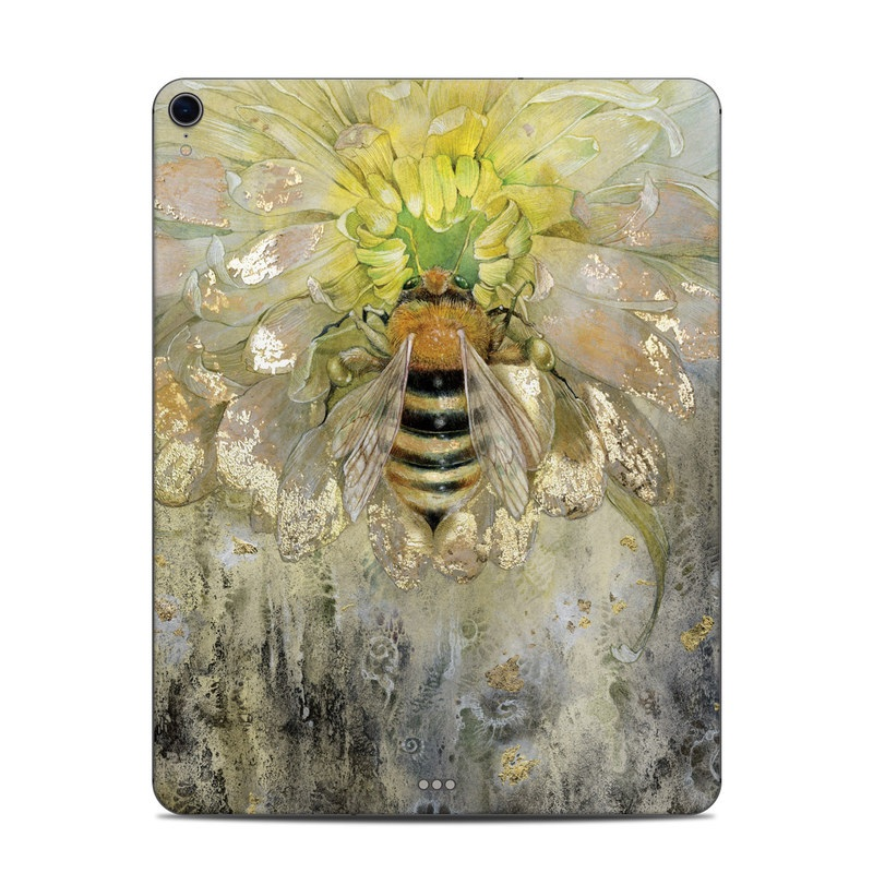 iPad Pro 3rd Gen 12.9-inch Skin design of Honeybee, Insect, Bee, Membrane-winged insect, Invertebrate, Pest, Watercolor paint, Pollinator, Illustration, Organism with yellow, orange, black, green, gray, pink colors